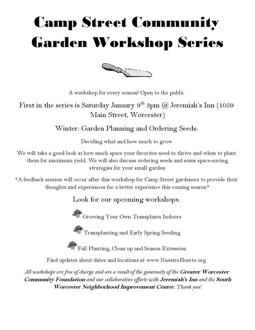 Community Garden Workshop Series Flyer